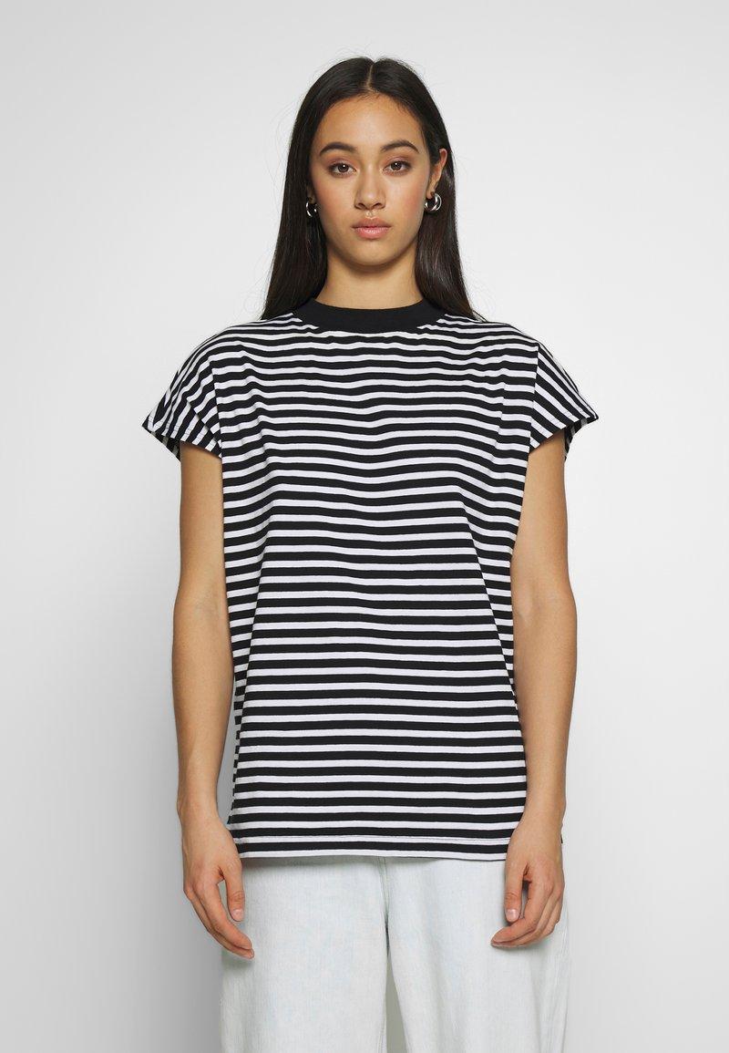 Weekday - PRIME STRIPE - Print T-shirt - black/white