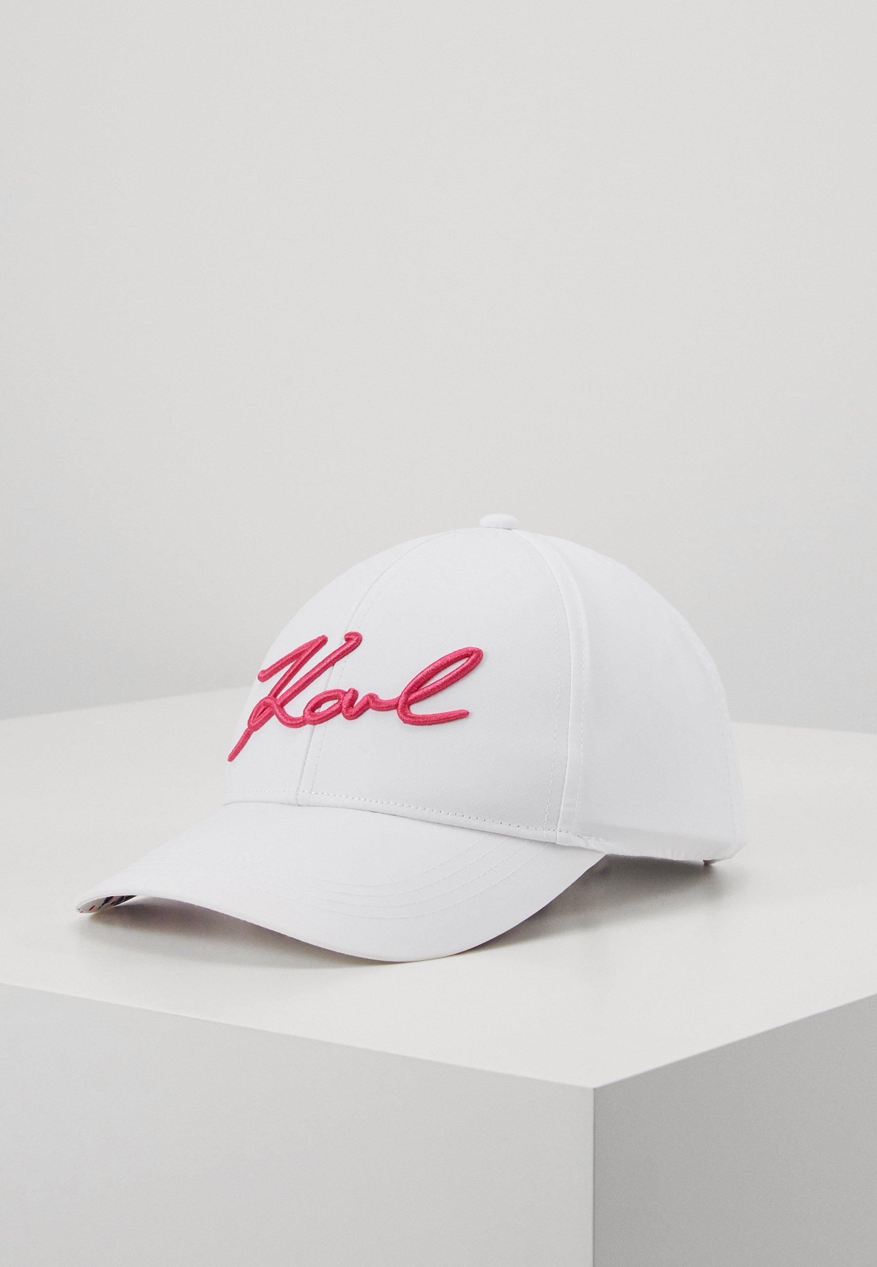 KARL LAGERFELD SIGNATURE CAP VISOR PRINT - Cap - white/multi/hvit OT71o3NvE2KOKKP