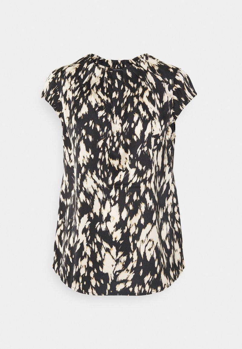 comma - KURZARM - T-shirt med print - black/beige