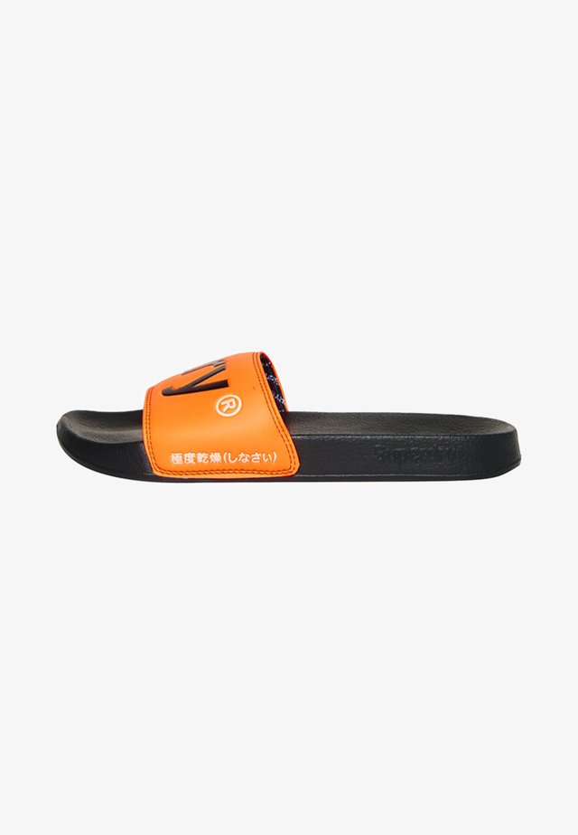POOL SLIDE - Sandales de bain - black / neon orange / white