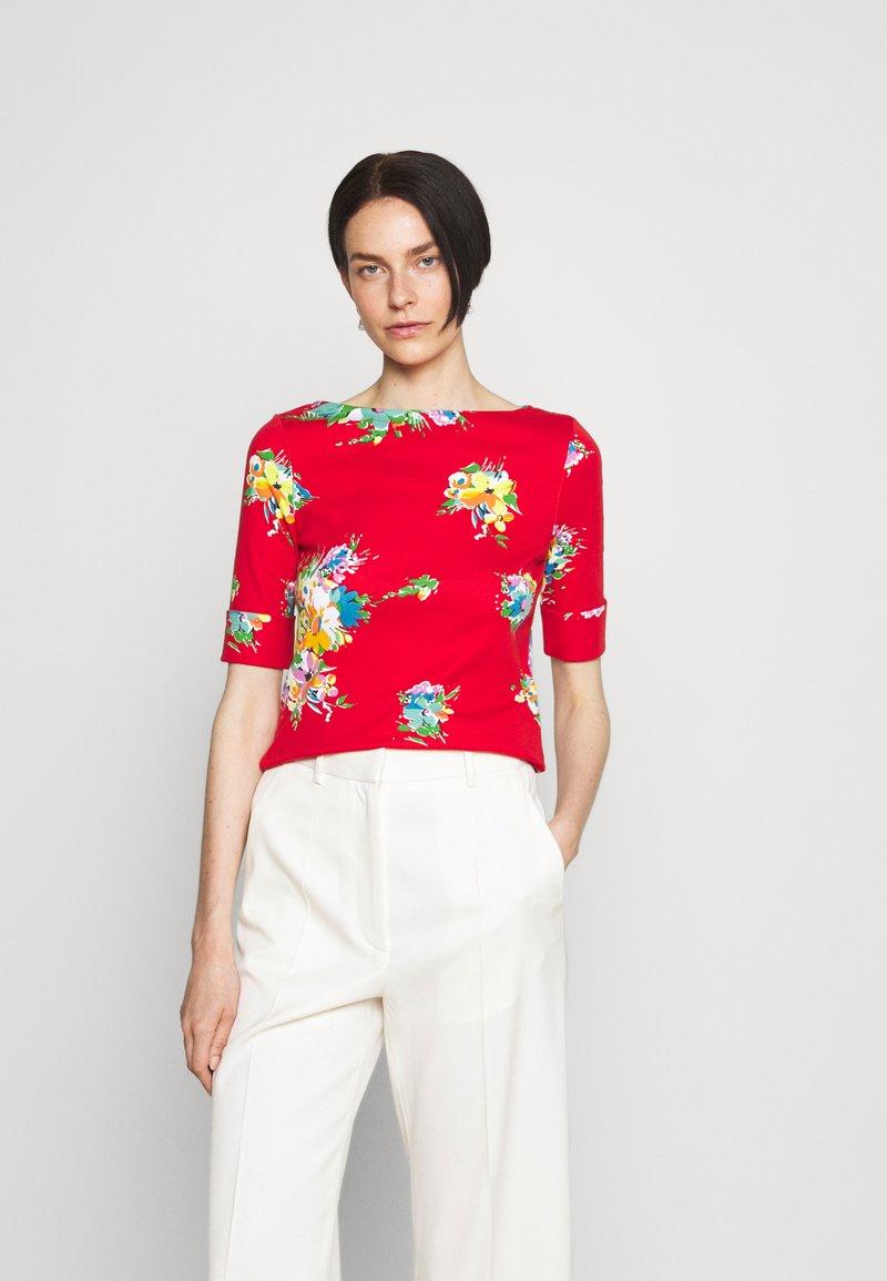 Lauren Ralph Lauren - JUDY ELBOW SLEEVE - Print T-shirt - bright hibiscus/multi