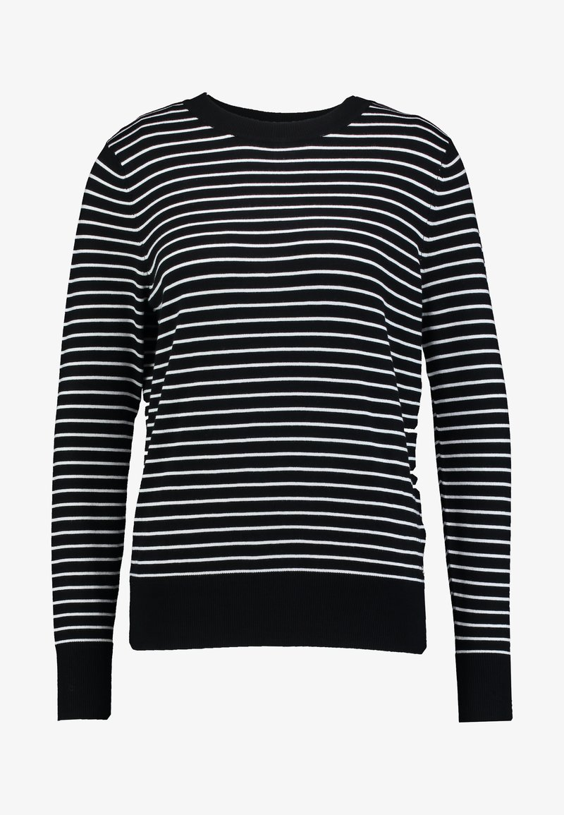 TOM TAILOR DENIM EASY STRIPE - Strikkegenser - black/white