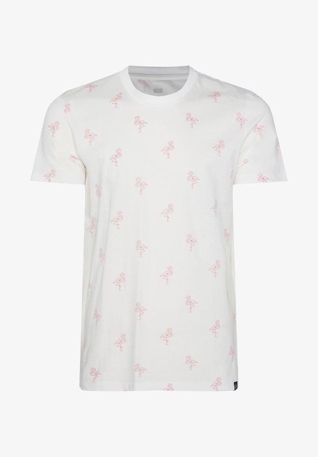 MIT FLAMINGO-MUSTER - Print T-shirt - white