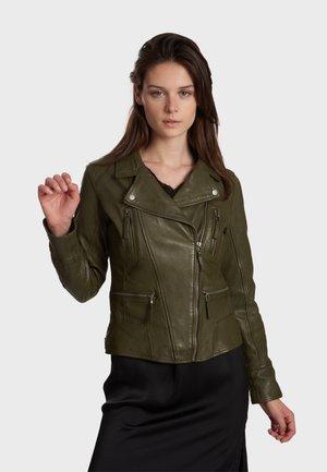 CAMERA - Leather jacket - khaki