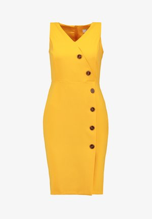 BUTTON FRONT TAILORED DRESS - Pouzdrové šaty - ochre