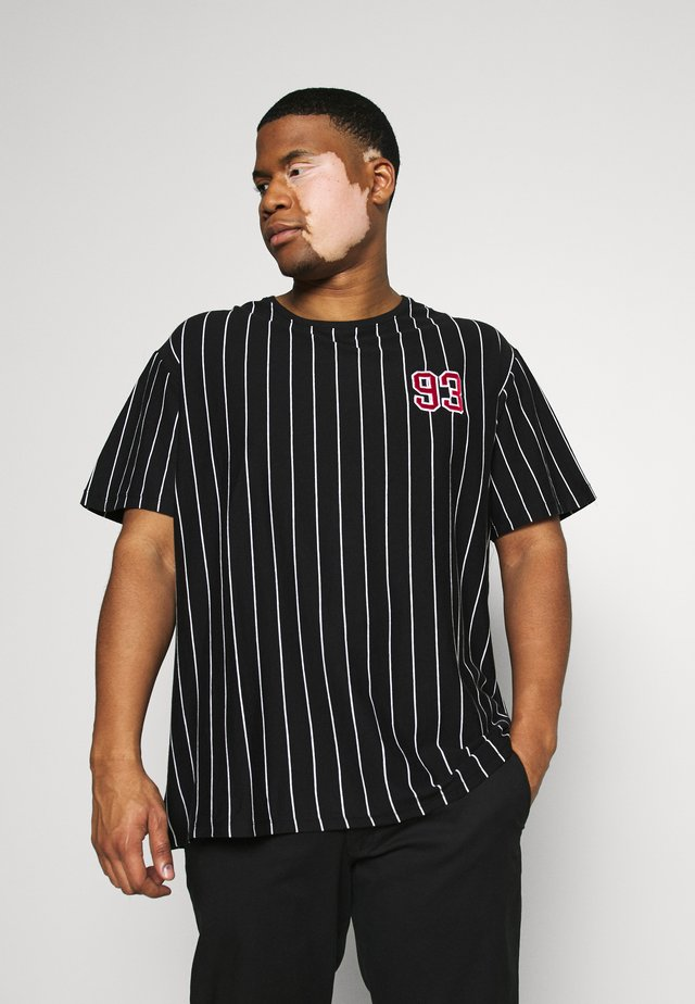 STRIPED TEE APLICATIONS - Print T-shirt - black