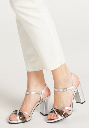 High heeled sandals - silver metallic