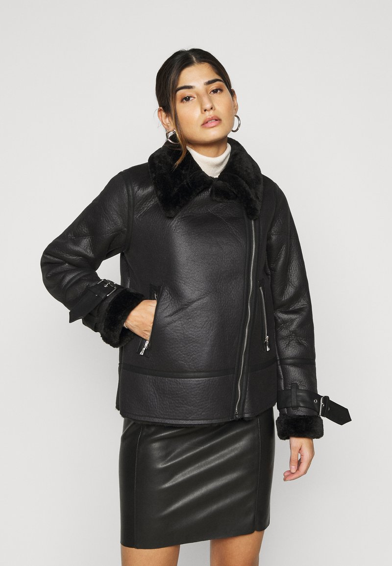 New Look Petite - CHRISSY AVIATOR - Faux leather jacket - black