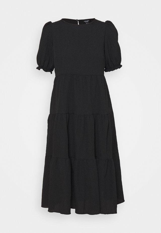 TEXTURE PUFF SLEEVE TIER MIDI - Maxi dress - black