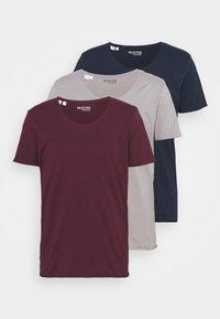 SLHNEWMERCE O NECK TEE 3PACK - T-shirt basic - navy blazer/frost gray/winetastin