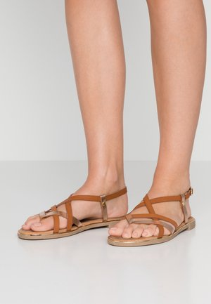 T-bar sandals - braun/bronze