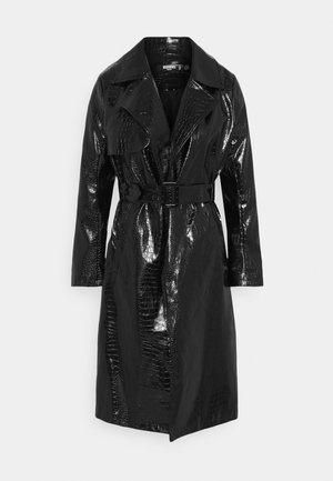 CROC BELTED MAXI - Trenchcoat - black