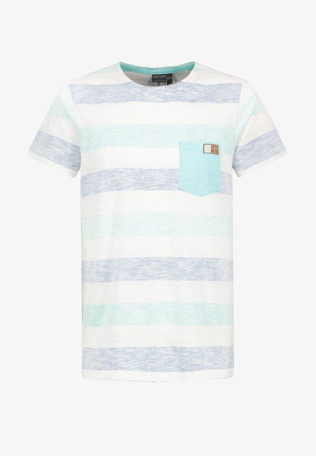 MIT STREIFEN-PRINT - Print T-shirt - turquoise