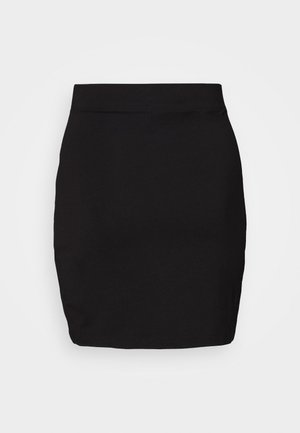 Basic mini skirt with slit - Minifalda - black