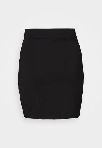 Basic mini skirt with slit - Mini skirt - black