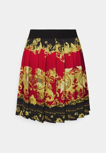 LADY SKIRT - Pleated skirt - black/carmin