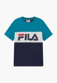 Fila - MARINA BLOCKED TEE - T-shirt imprimé - black iris/capri breeze/bright white - 0