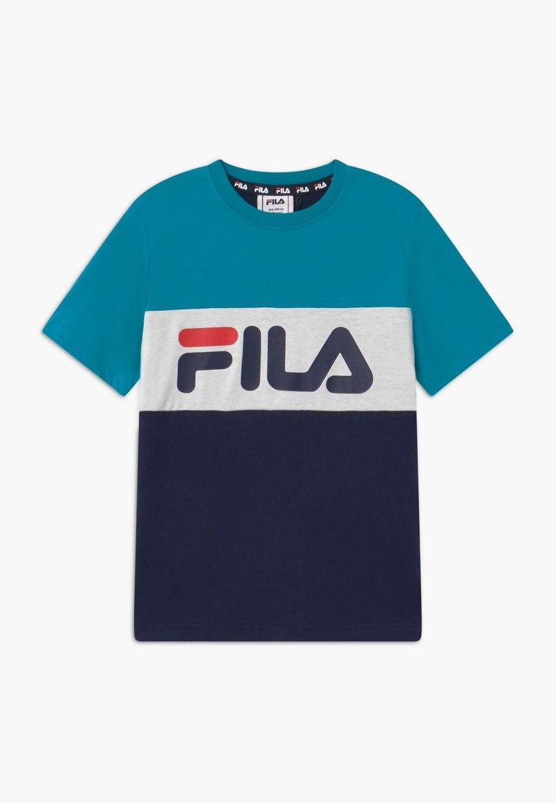 Fila - MARINA BLOCKED TEE - T-shirt imprimé - black iris/capri breeze/bright white