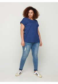 Zizzi - Basic T-shirt - twilight blue mel. - 1