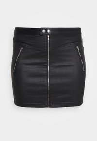 Missguided Plus - COATED DOUBLE POPPER SKIRT - Pencil skirt - black - 4