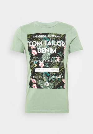 Print T-shirt - dusty leave green
