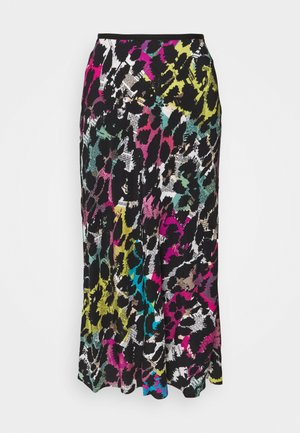 MAE - Maxi skirt - newspaper leopard black