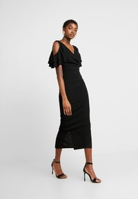 WAL G. - MIDI SHOULDER FRILL DRESS - Cocktail dress / Party dress - black - 1