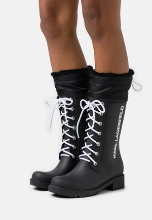 SALVO LACE FRONT HI RAIN BOOT - Wellies - black