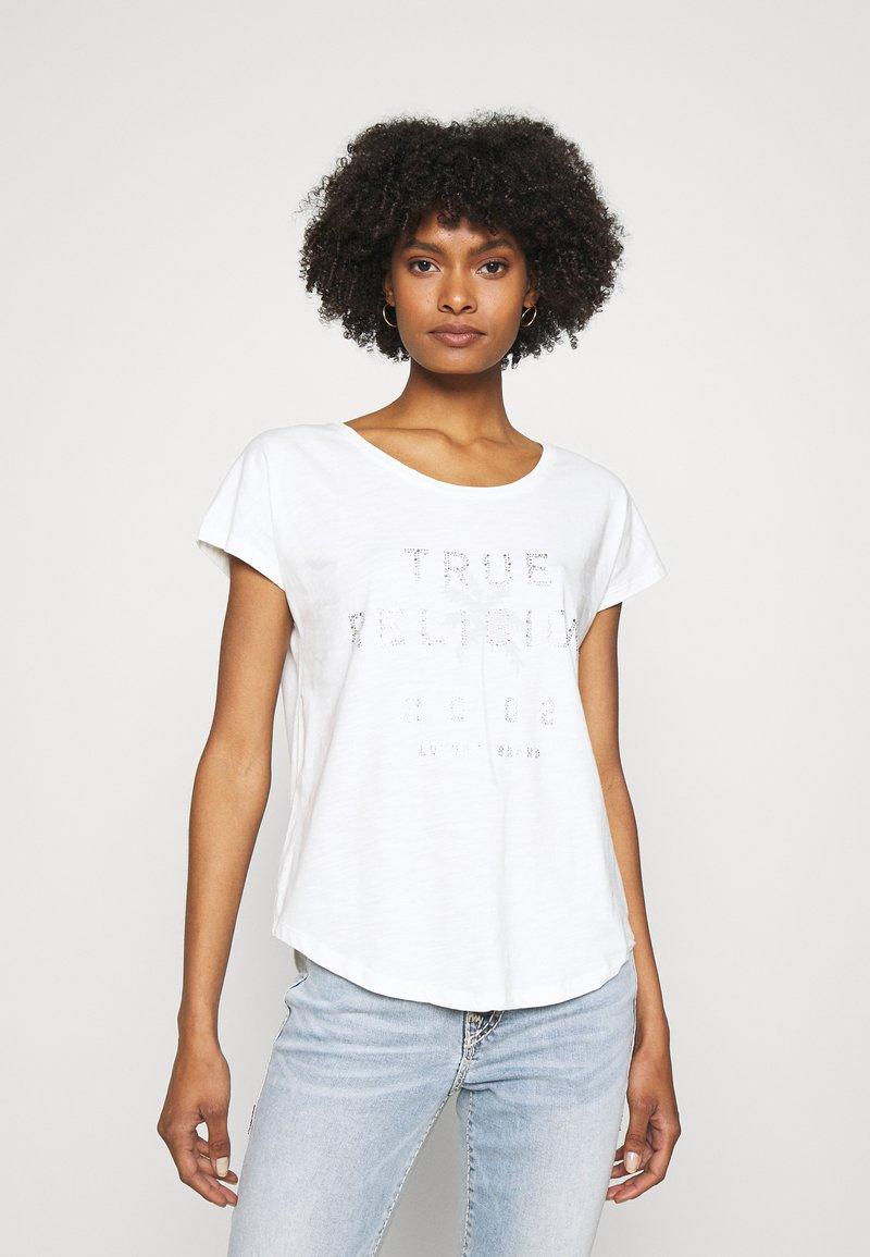 True Religion - BOXY CREW NECK PALM TREE  - Print T-shirt - blanc