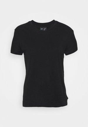 SLIM FIT TEE - Jednoduché triko - black