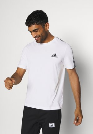 ESSENTIALS TRAINING SPORTS SHORT SLEEVE TEE - Camiseta estampada - white/black