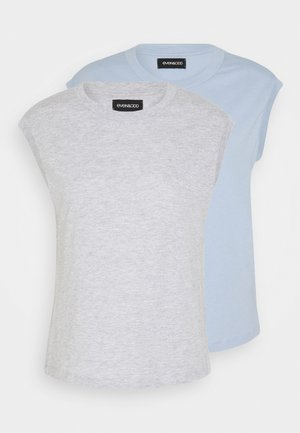 2ER PACK - Jednoduché triko - light grey/blue