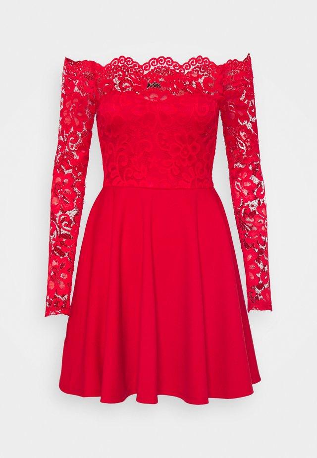 OFF SHOULDER SKATER - Jersey dress - red