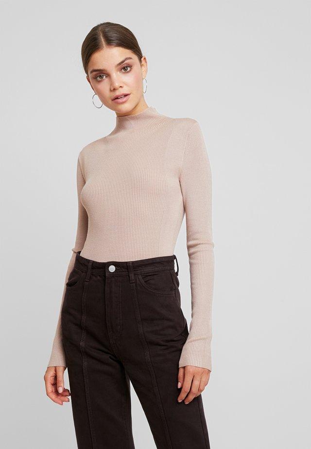 CONTRAST ROLL NECK JUMPER - Sweter - beige