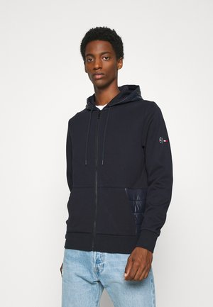 MIXED MEDIA ZIP THRU HOODY - veste en sweat zippée - blue