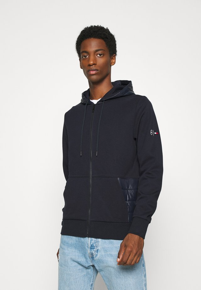 MIXED MEDIA ZIP THRU HOODY - Zip-up hoodie - blue