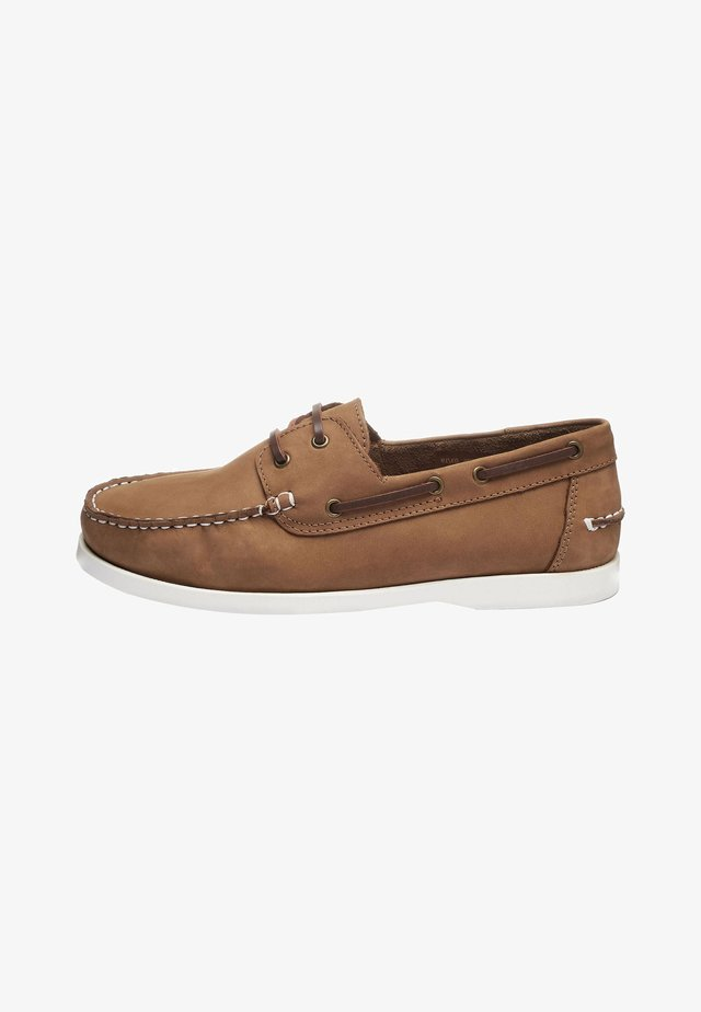 LEATHER BOAT SHOE - Chaussures bateau - mottled brown
