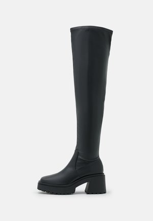 VEGAN SIGRID COMBAT SQUARE TOE SOCK BOOT - Over-the-knee boots - black smooth