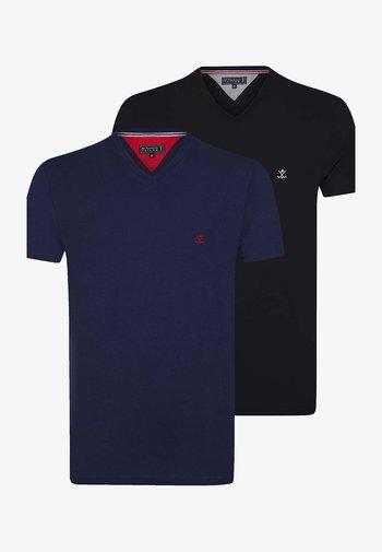 SHORT SLEEVE 2ER PACK - Basic T-shirt - navy black