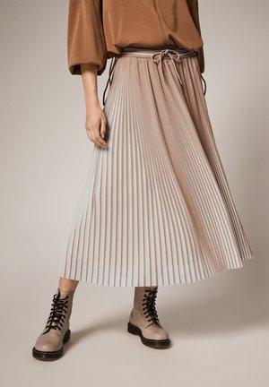 MIT FARBEFFEKT - A-line skirt - brown stripes