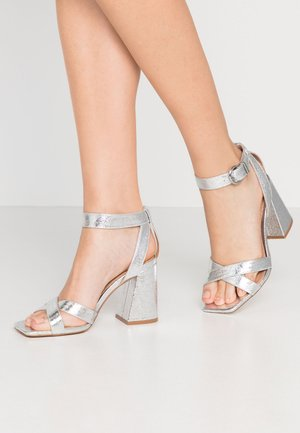 SACHA BLOCK ANKLE TIE - High heeled sandals - silver