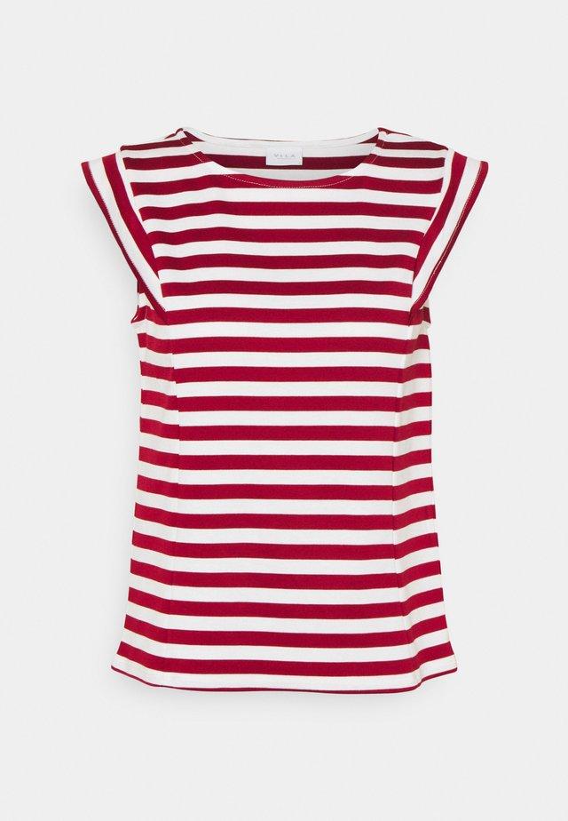 VITINNY CAP SLEEVES  - Print T-shirt - snow white/red dahlia