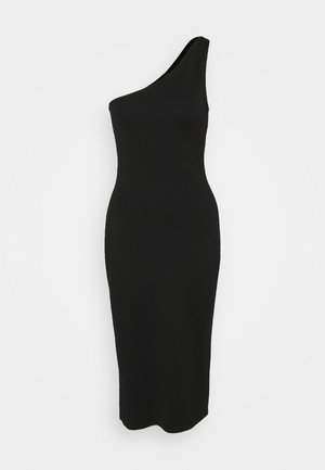 ONE SHOULDER MIDI DRESS - Day dress - black