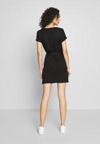 Even&Odd - BASIC - Short sleeves mini belted dress - Vestido ligero - black/black - 2
