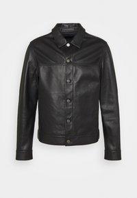 PATTERSON LEATHER OVERSHIRT - Leather jacket - black