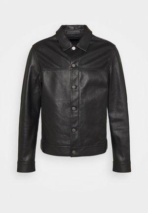 PATTERSON LEATHER OVERSHIRT - Leren jas - black