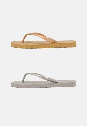 2 PACK - Teenslippers - silver/gold