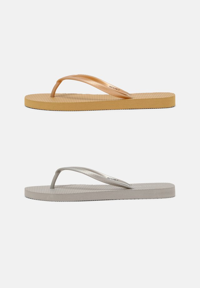 2 PACK - T-bar sandals - silver/gold