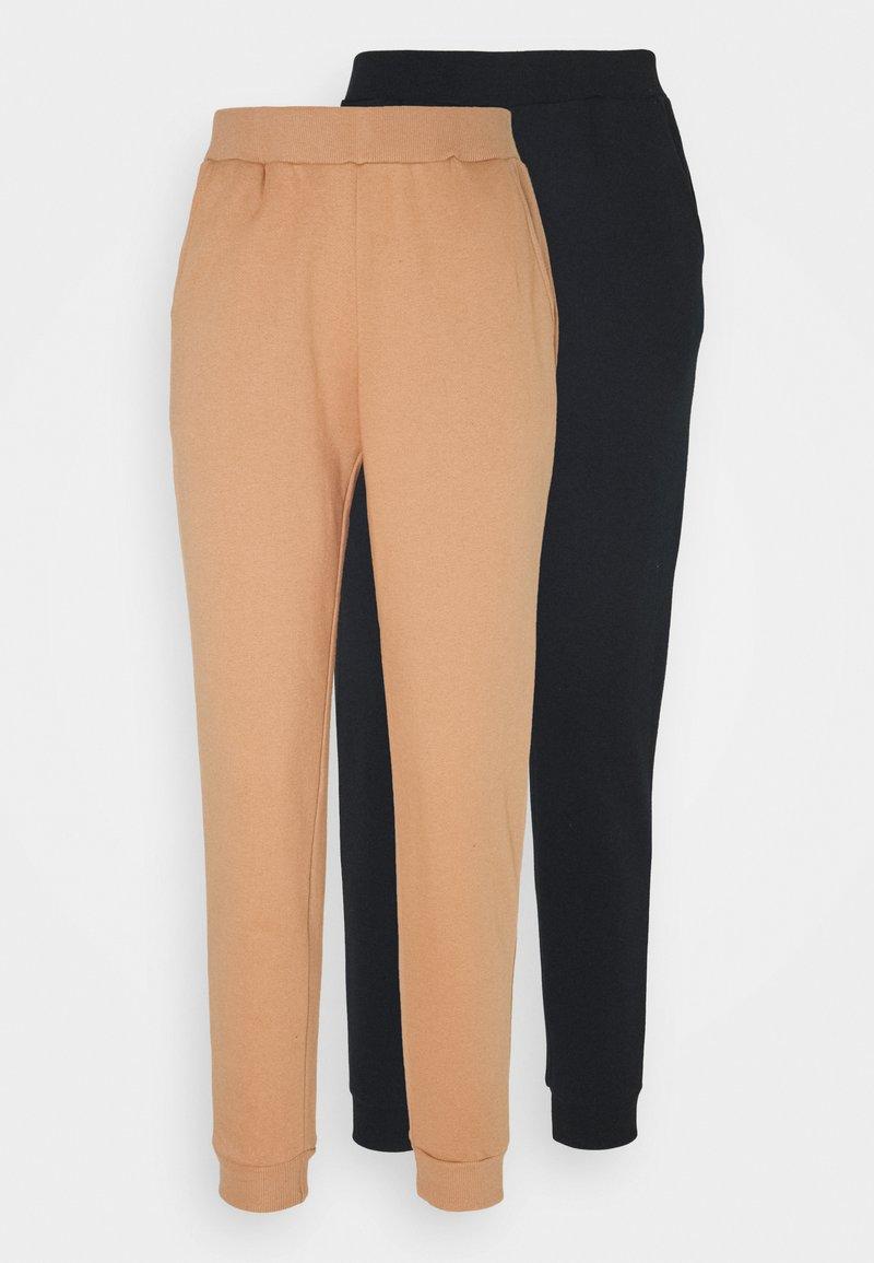 Even&Odd - 2er PACK - Basic regular fit joggers - Træningsbukser - black/camel