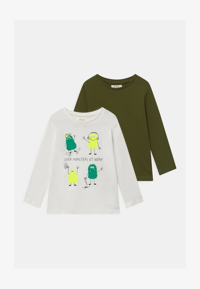 BOYS LONG SLEEVE 2 PACK - Pitkähihainen paita - dark green/white
